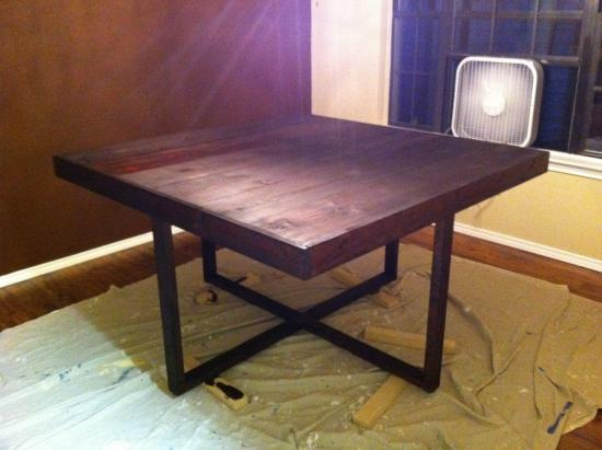 My square modified cross frame dining table the design for Dining table frame design