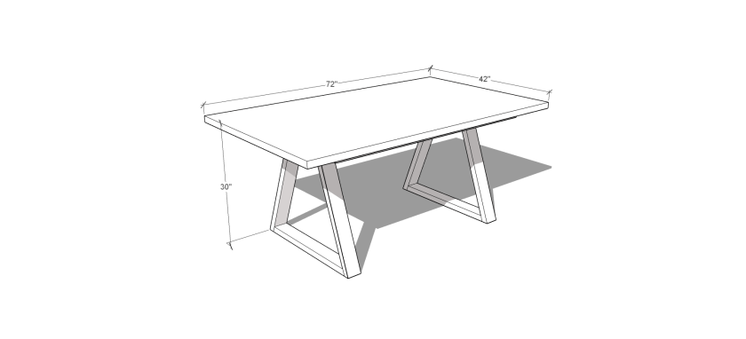 Dimensions for Free DIY Furniture Plans // How to Build a Tri Trestle Table