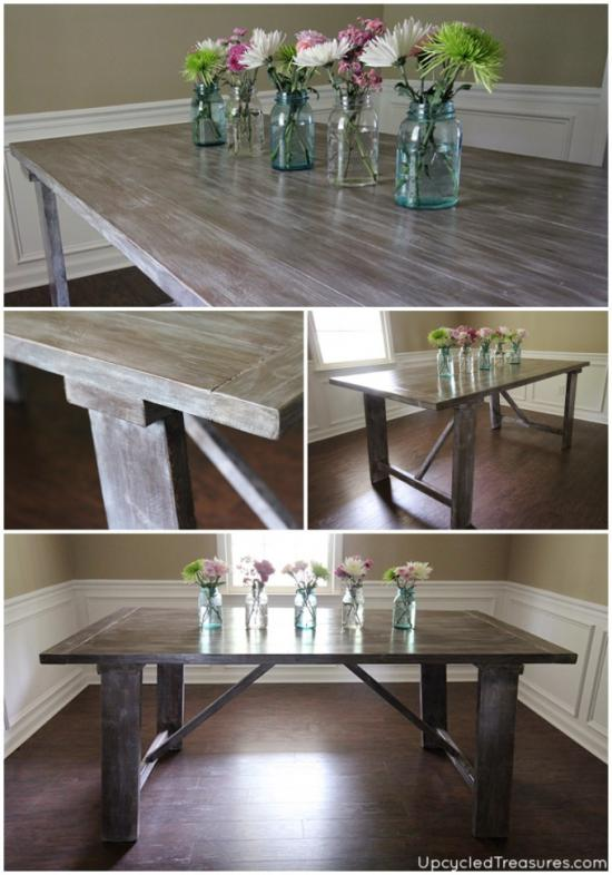 Gorgeous Build with Finish for The Design Confidential Reader Showcase // Upcycled Treasure's West Elm Inspired Truss Dining Table