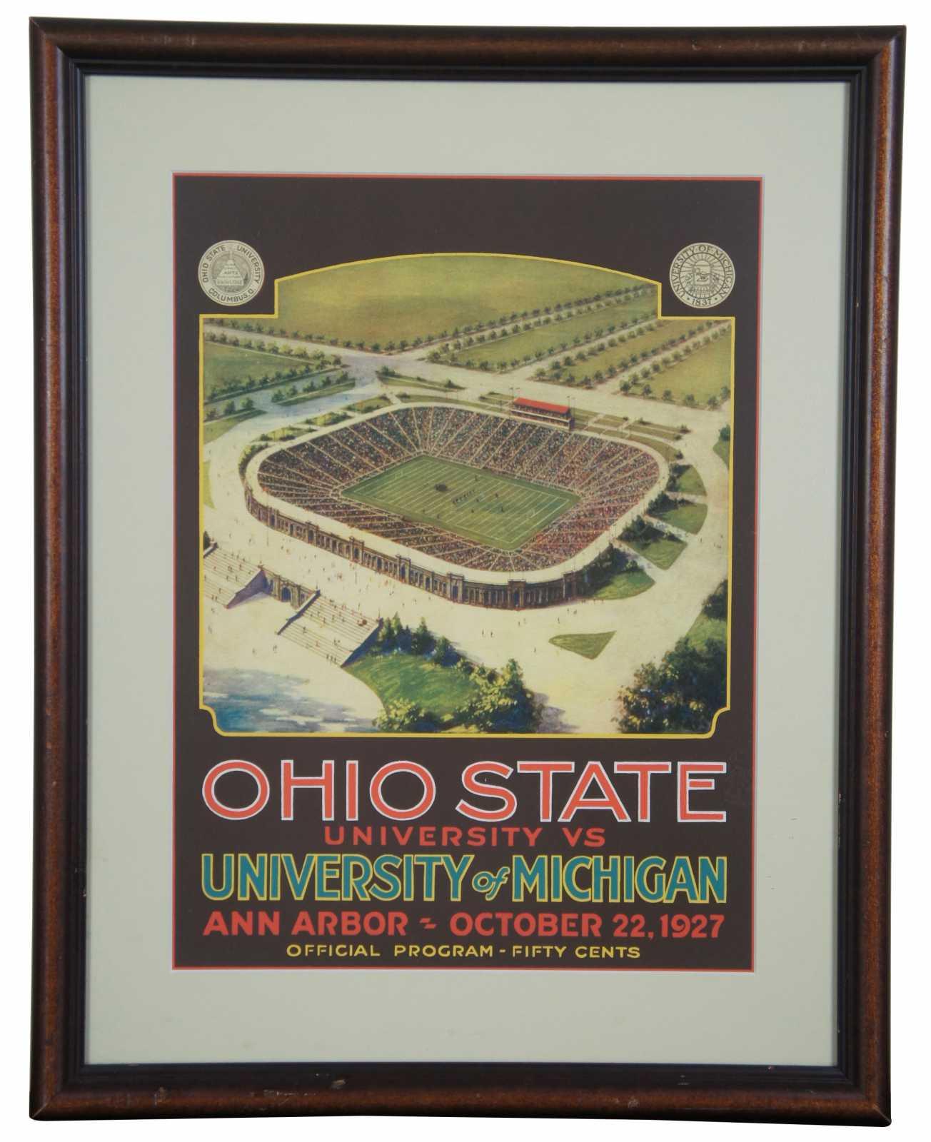 1927 ohio state vs michigan football program advertisement poster print osu 21