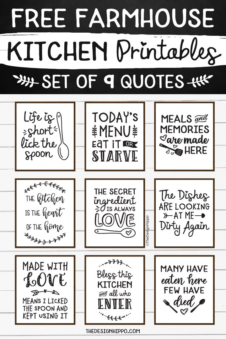 Free Farmhouse Kitchen Home Decor Printables Funny Quotes