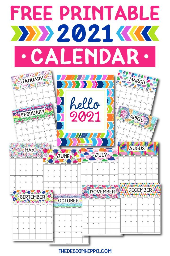 Free Printable 2021 Calendar - Cute Dated Monthly Planner