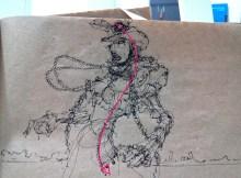 Fashion cow boy drawing