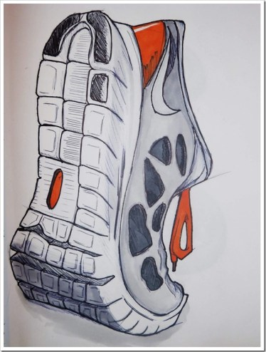 I copied this shoe from an other sketch one year ago. I find it rather good !