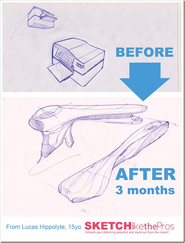 Before / After 3 months of [Sketch like the Pros] course| Lucas Hippolyte, 15 yo | Big progression