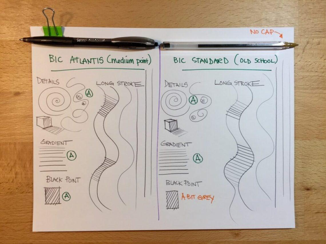 bic-atlantis-vs-bic-oldschool-brent-george-sketch-like-the-pros-student-ball-point-pen-testing