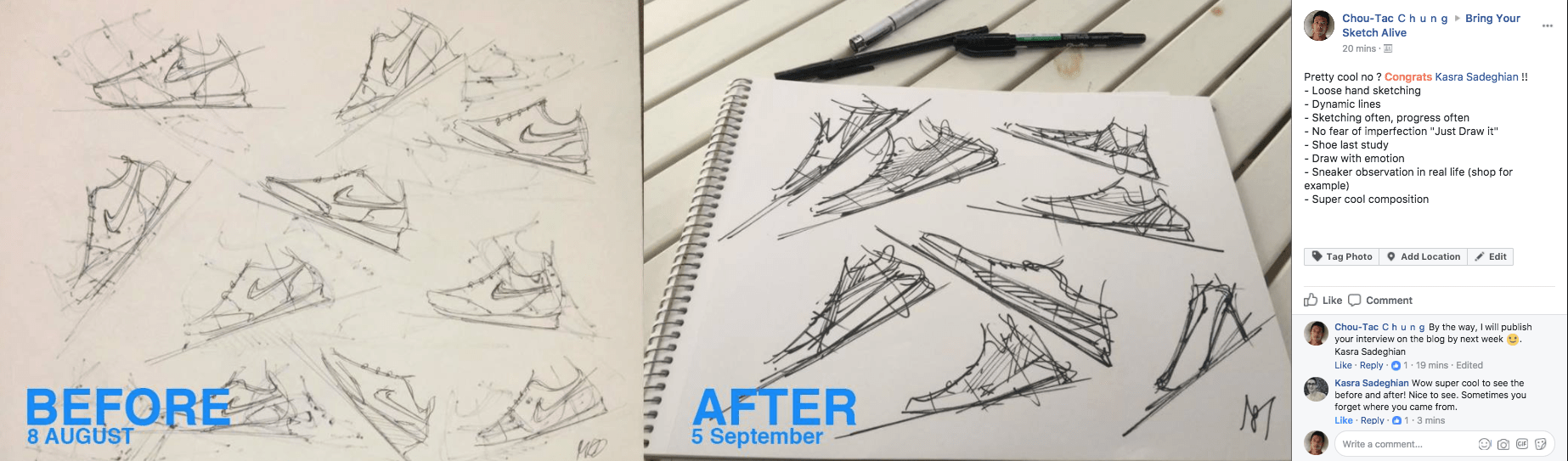 Kasra learn to draw sneaker and made big progress