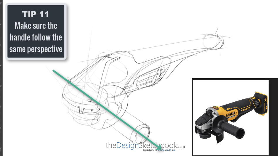Sketching TIP 11 Make sure the handle follow the same perspective