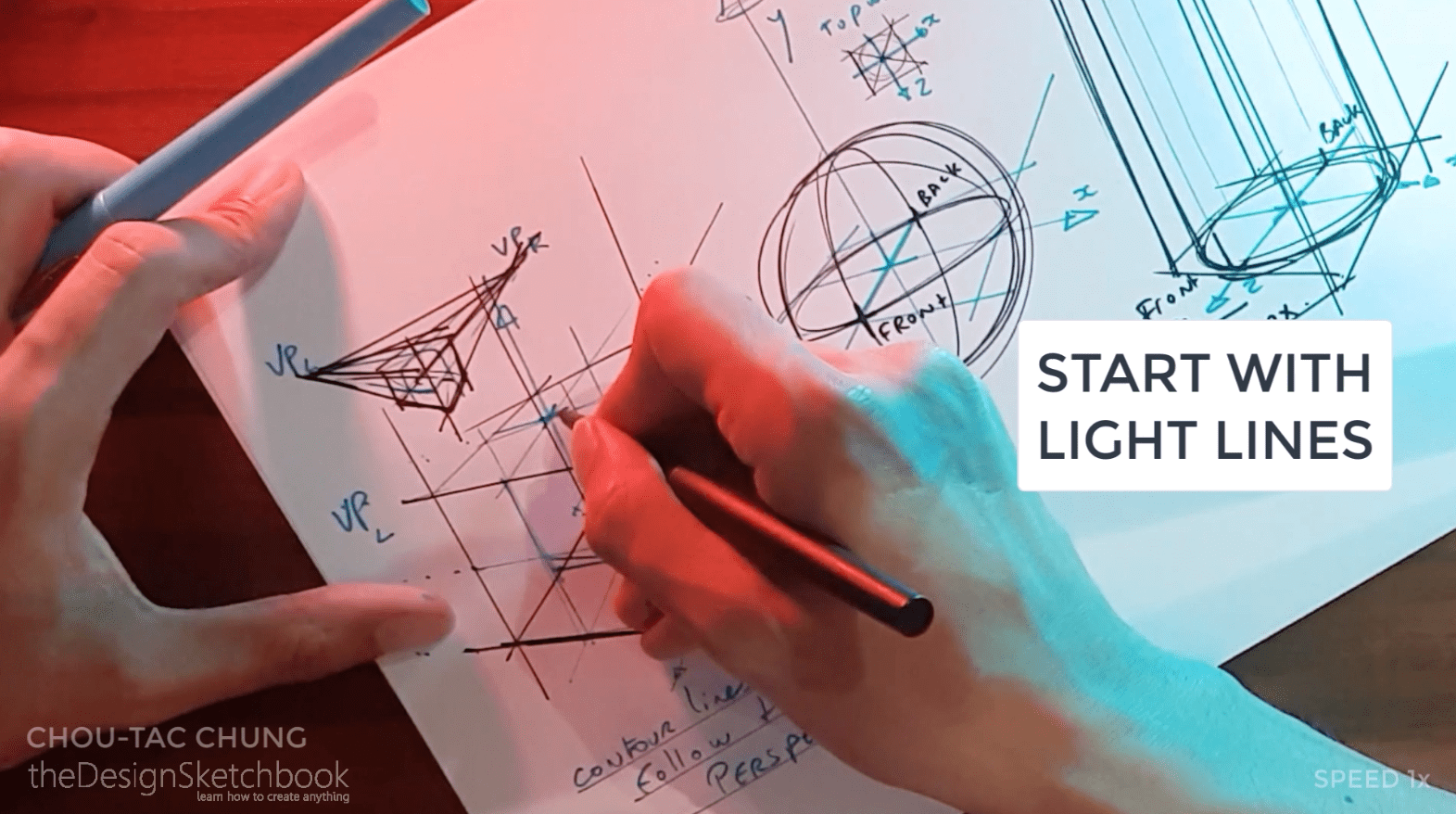 Remember to always start drawing with light lines pressure with your pen