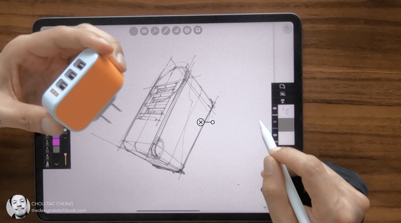 How to draw USB Charger on ipad pro with morpholio trace Product design sketching