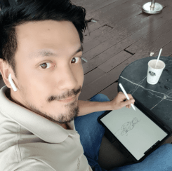 sketching at Phuc Long cafe in Vietnam loosen up your lines to draw people with ipad pro and pencil