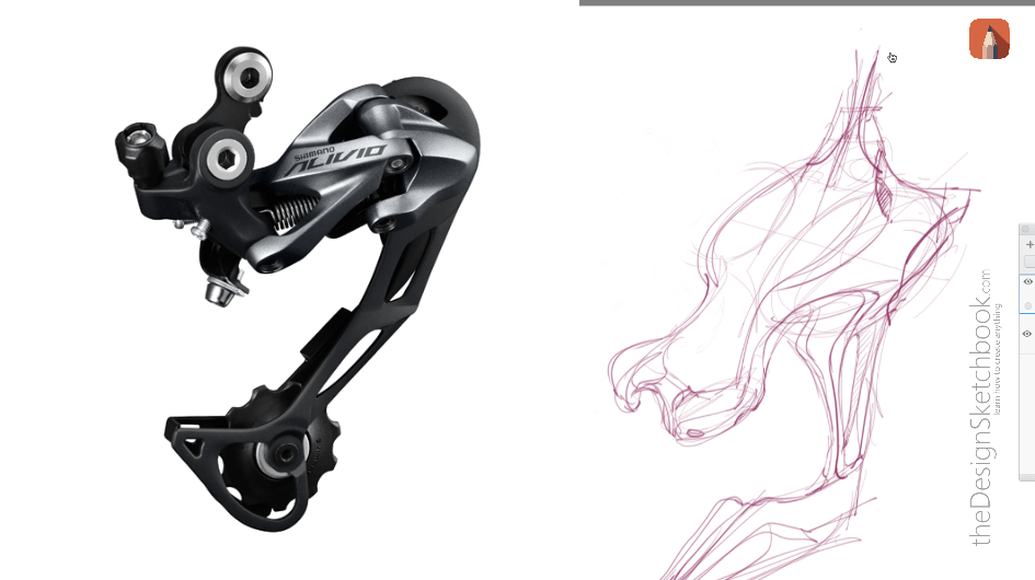 Sketches of Shimano bike tech design inspired for concept art