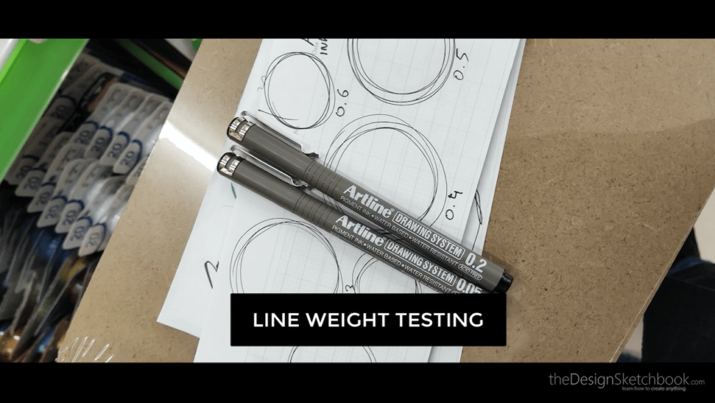 water based pigment pen test on line weight
