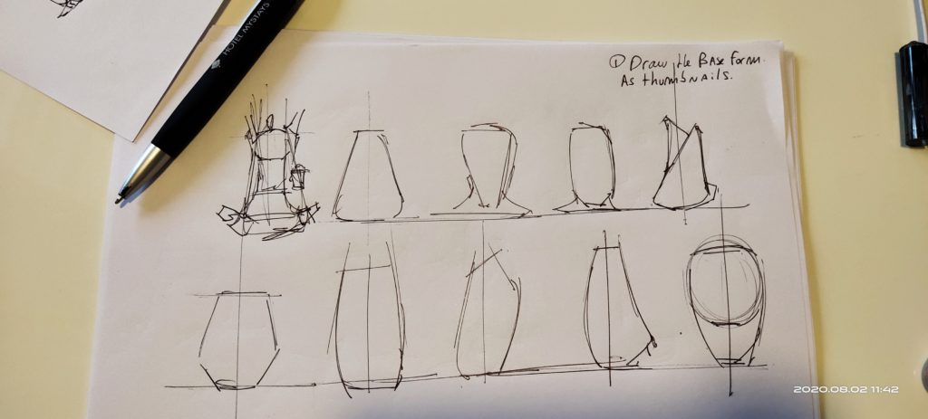 Preview of the bag thumbnails as basic forms to start