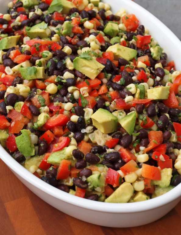 Black Bean Salad with Corn, Red Peppers & Avocado With Lime-Cilantro Vinaigrette   Once Upon A Chef