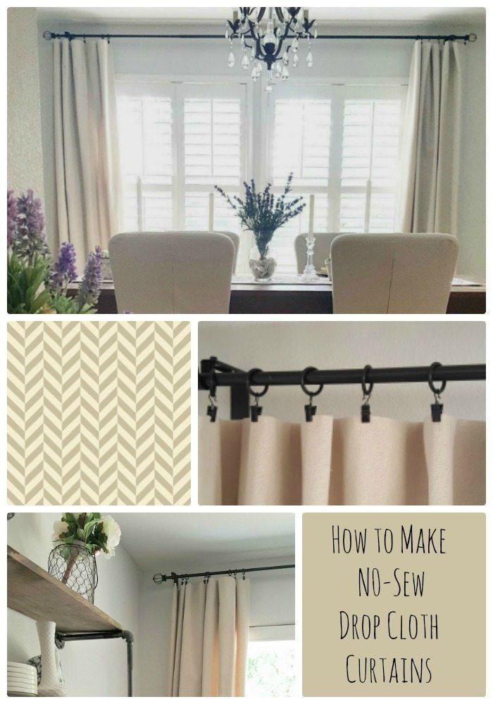 how to make no sew drop cloth curtains