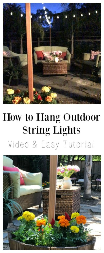How to Hang Outdoor String Lights Video and Easy Tutorial ... on Backyard String Lights Diy  id=98437
