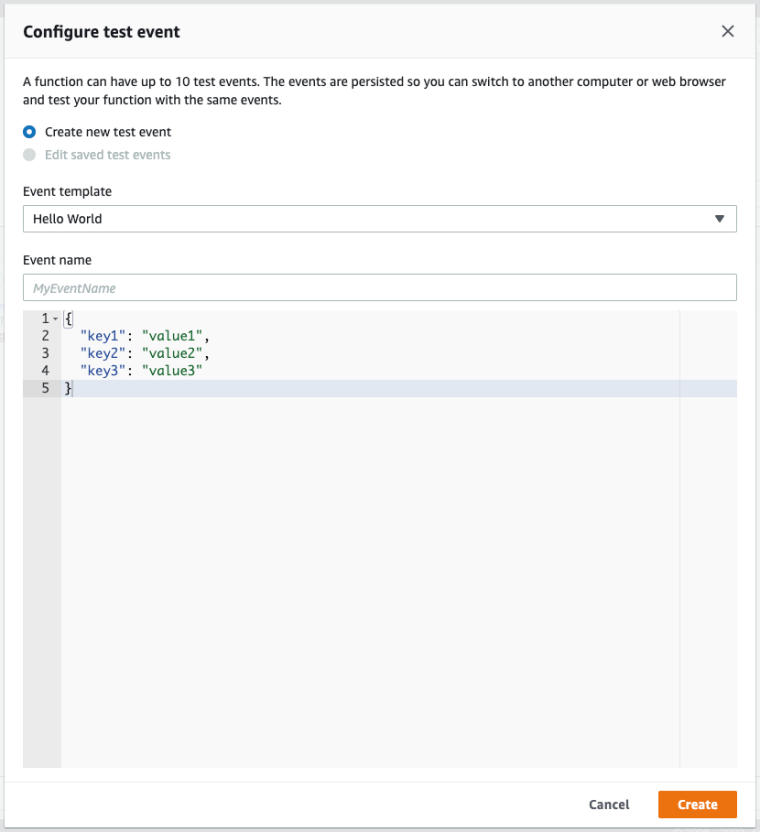 Configure Lambda Test Events