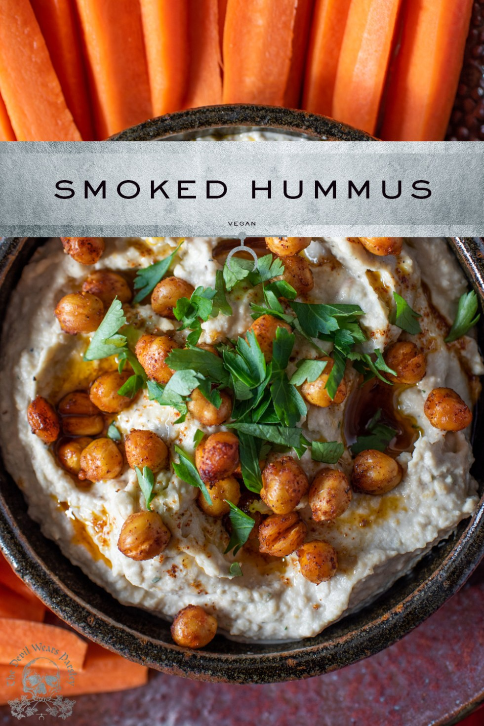 A simple dish like smoked hummus can be quickly elevated with extra flavor from bourbon smoked spices, and texture from roasted chickpeas.