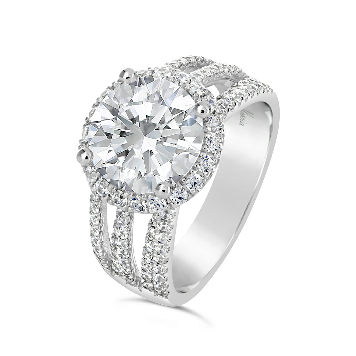 Multi Band Diamond Halo Engagement Ring Alessia
