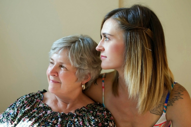 Mother with her caregiver daughter