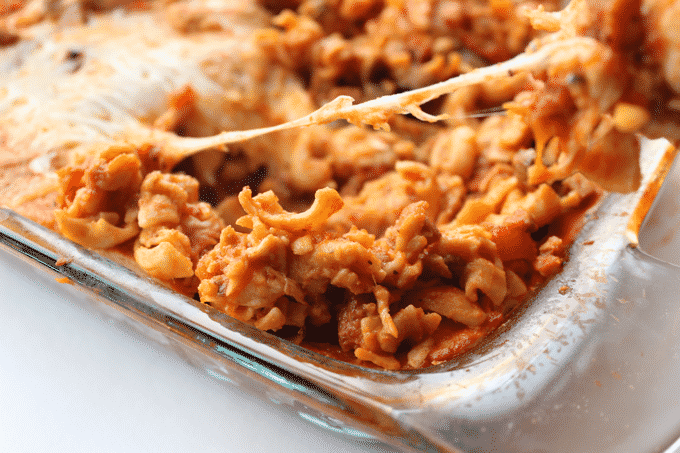 This Healthy Chicken Sausage Casserole is sooooo easy to make. Plus, it's low in fat and high in protein, unlike a lot of other casserole recipes. Perfect for meal prep too!