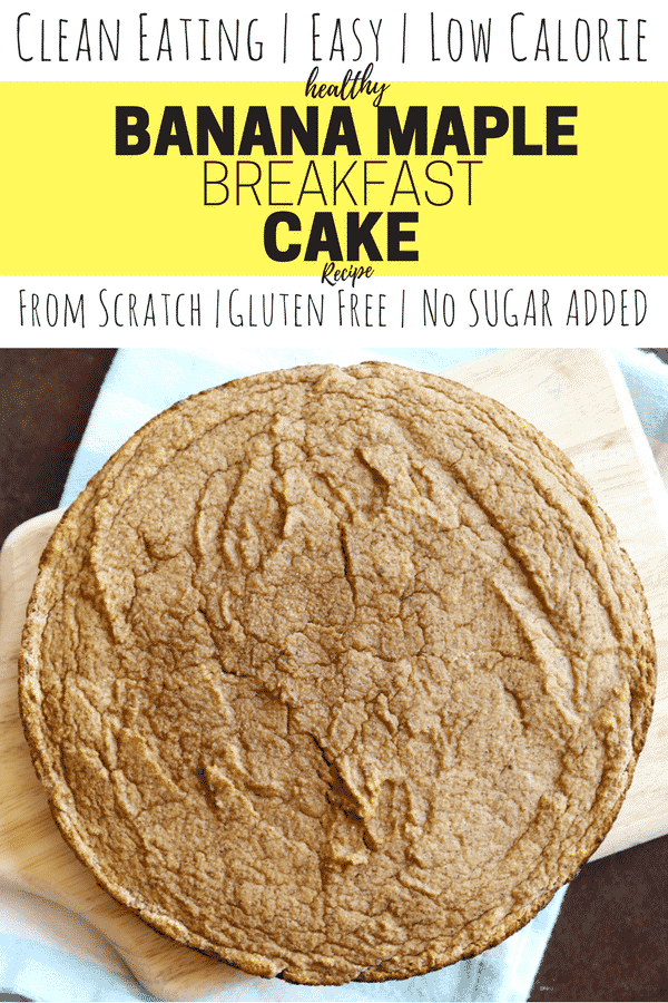 Healthy Cake Recipe! This clean eating banana maple breakfast cake is made from scratch, easy, low calorie, and gluten free. This cake is one of the best healthy breakfast recipes and ideas you'll ever come across, especially for weight loss