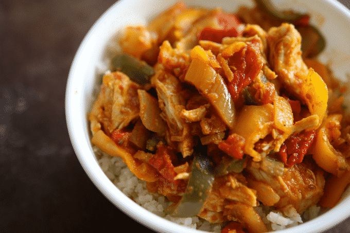 An easy chicken curry recipe in a bowl.