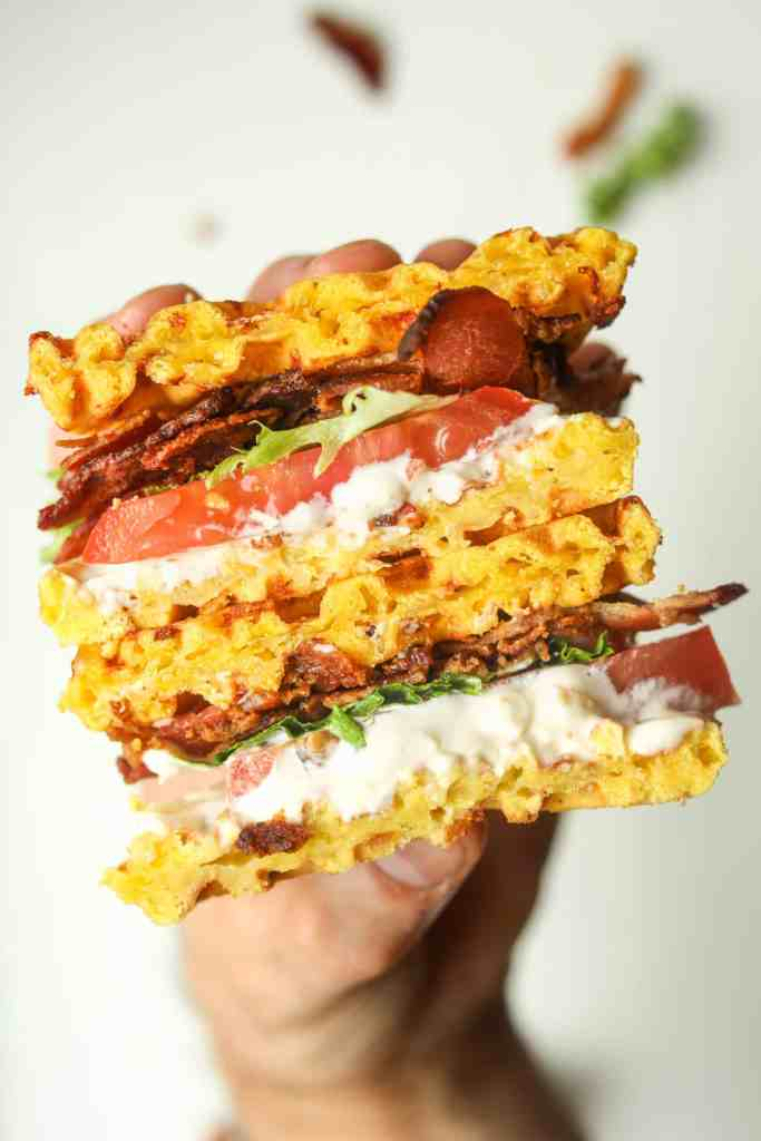 Chaffle BLT sandwich.