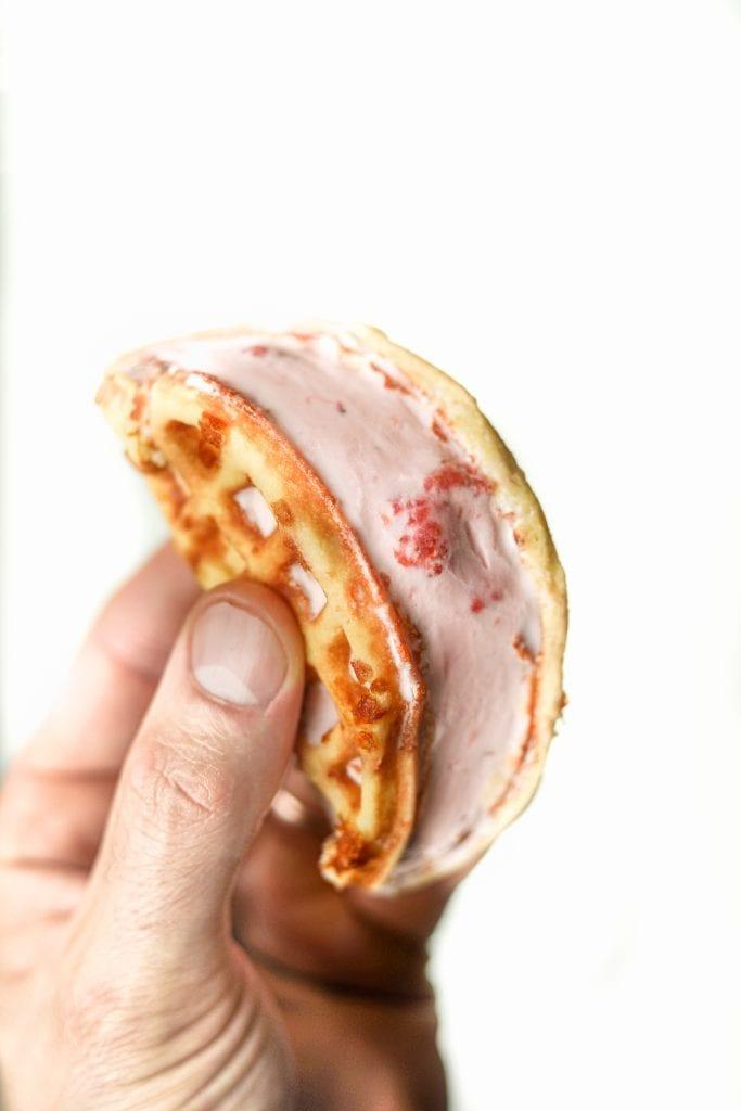 A Sweet Chaffle Strawberry Ice Cream Sandwich