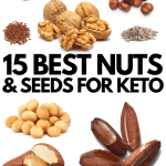 A compilation photo of several different nuts that are the best to eat for the keto diet.