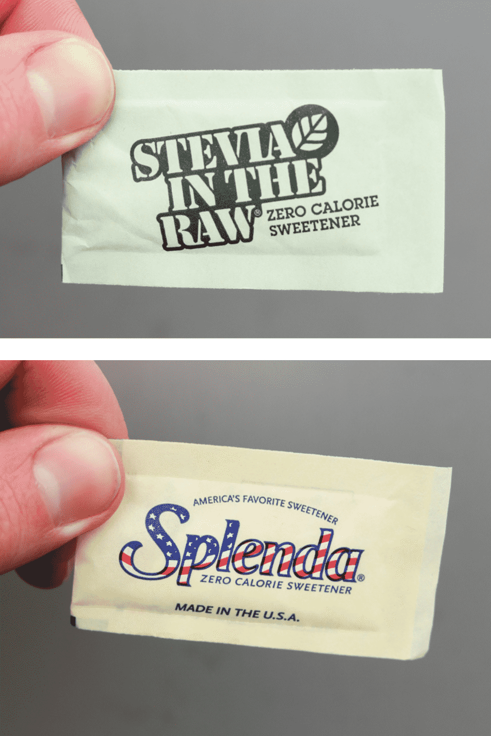 Two different pictures of a hand holding sweetener packets.