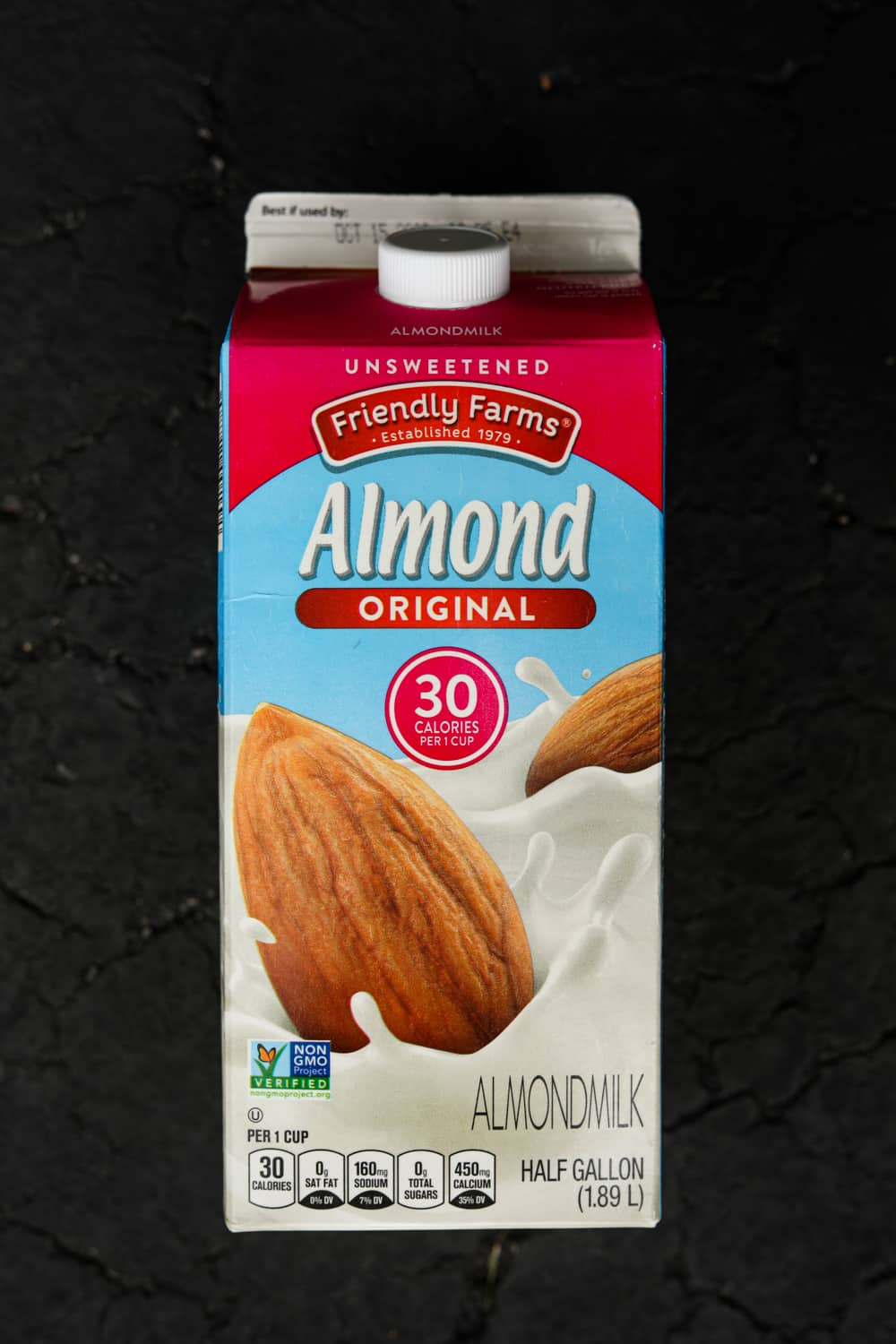 A container of almond milk.