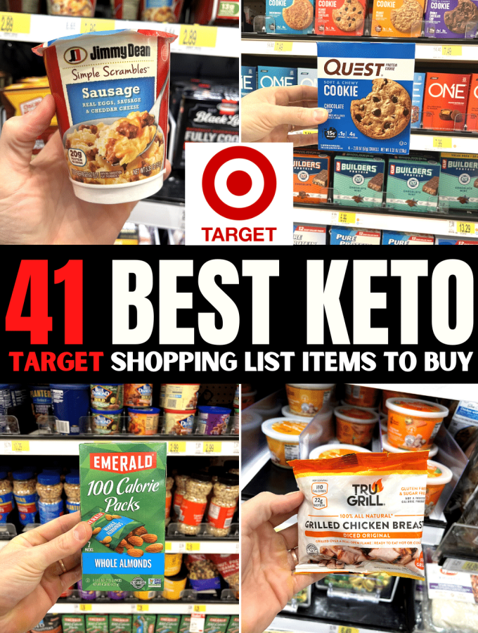 """A compilation of a hand holding 4 low carb items with text above them that reads """"41 best keto Target shopping list items""""."""
