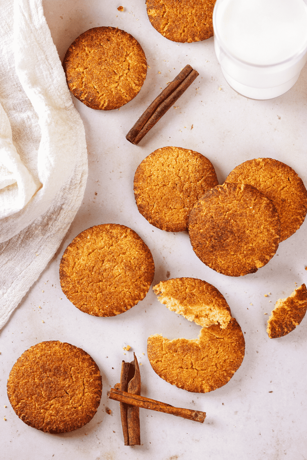A couple of snickerdoodle cookies on a white counter.