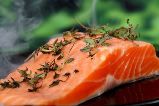 a salmon fillet is ready for the grill