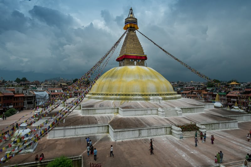 The classic shot of Boudhanath. Been there done that.  f/10, 1/480 sec, at 14mm, 200 ISO, on a X-Pro1