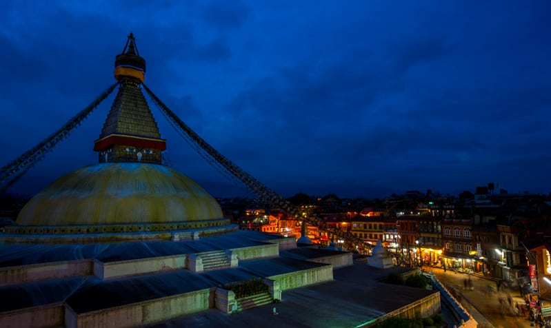 The Boudhanath Stupa at night. f/5.6, 3 sec, at 14mm, 250 ISO, on a X-Pro1
