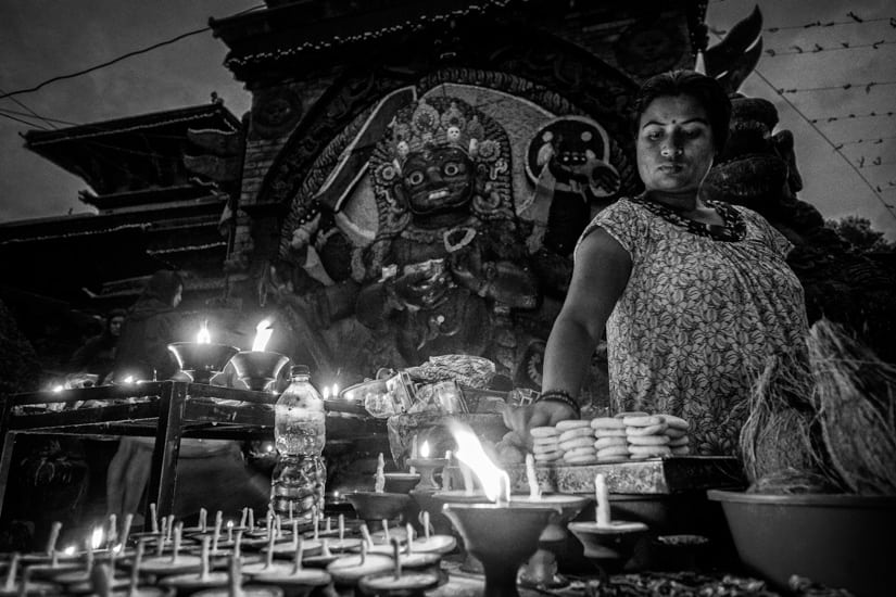 A Kali worshiper.f/3.6, 1/15 sec, at 14mm, 3200 ISO, on a X-Pro1