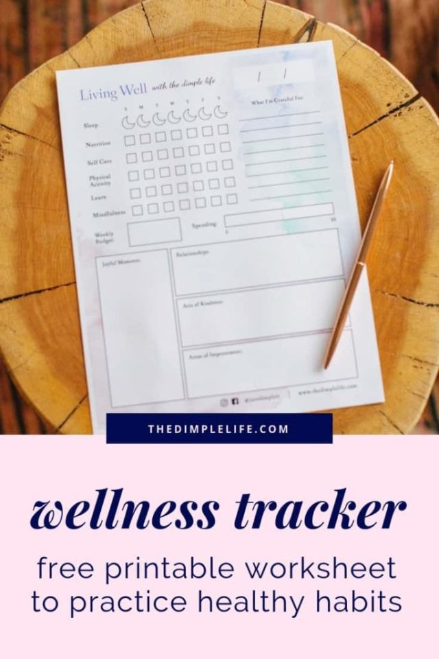 How to create healthy habits that stick |This post is all about practicing healthy habits and creating a wellness lifestyle so you can be healthy, live well and become your best self. Click to get my top recommended wellness habits, plus get my free printable Living Well Tracker to help you be mindful every day and stick to your healthy habits! | The Dimple Life #TheDimpleLife #healthyliving #healthyhabits #wellnesslifestyle #mindfulness #bestself #wellnesstips #livingwell #freeprintable