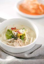 Korean tteukguk rice cake dumpling new years soup