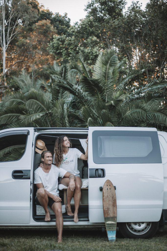Man and woman in van