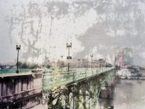 Gay Street Bridge, mixed media image transfer on aluminum, 12 x 16 inches