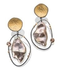 baroque pearl, 18k gold and topaz earring