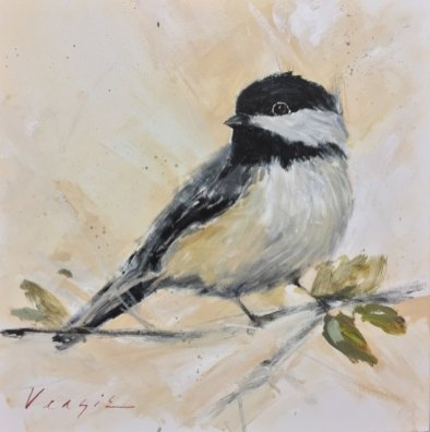Chickadee, acrylic on canvas, 20 x 20 inches