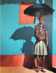 Umbrella Girl, oil on canvas, 42 x 53 inches