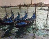 Venice in the Rain 3, oil on canvas, 24 x 30 in.