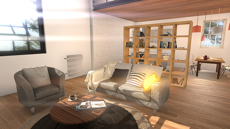 living room of the loft from a different angle with open window 3d