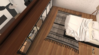 bed view for top 3d architectural