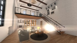 living room loft view with light fro window
